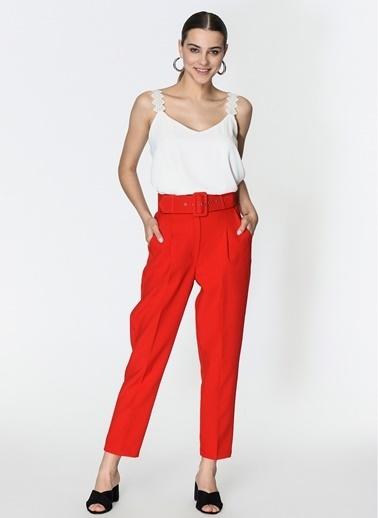 Loves You Yüksek Bel Duble Paça Havuç Pantolon Kırmızı
